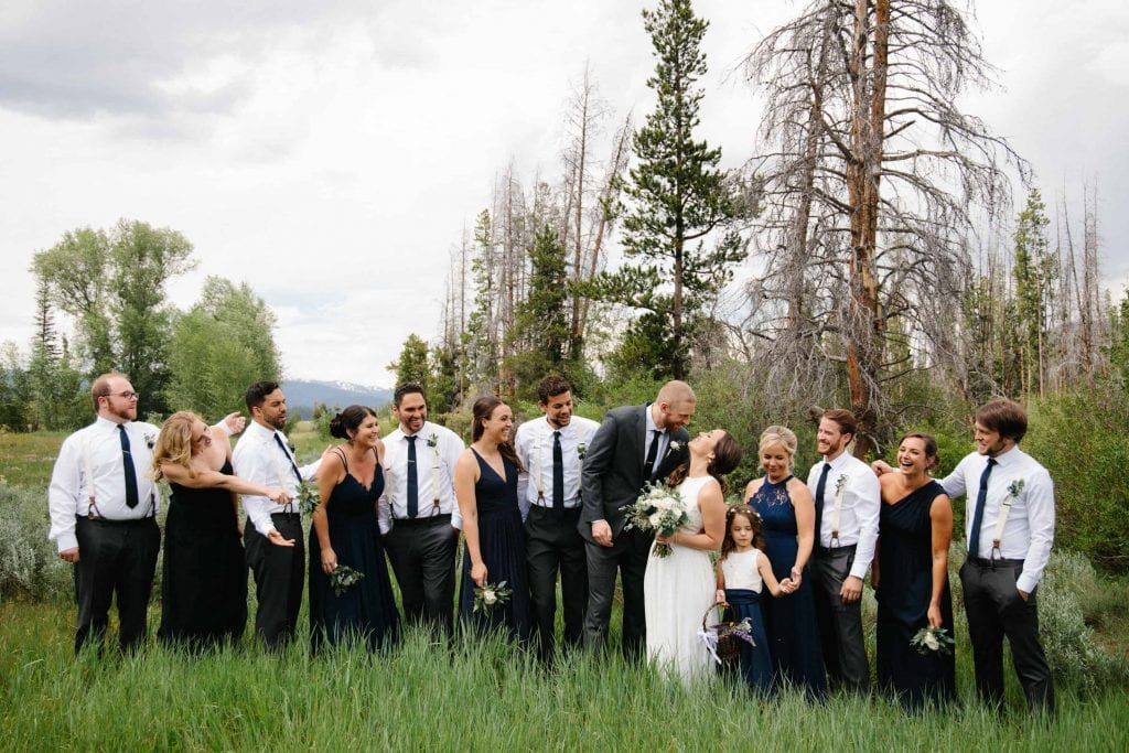 wedding party in the grass