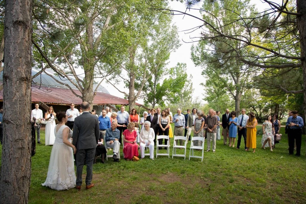 bride and groom address the guests at their wedding ceremony
