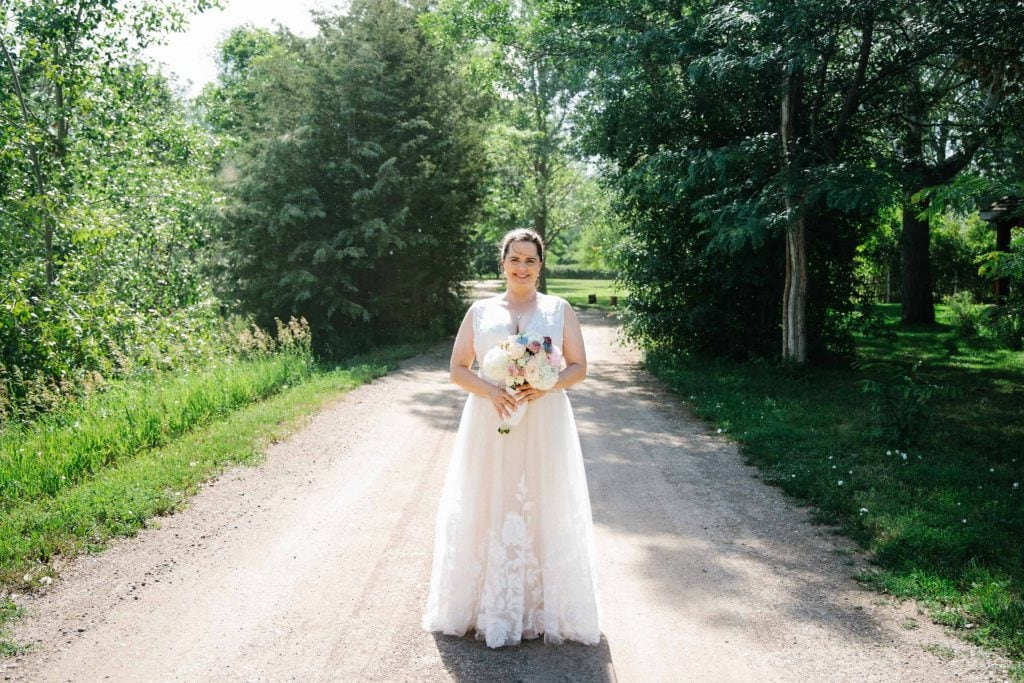 bridal portrait in a road