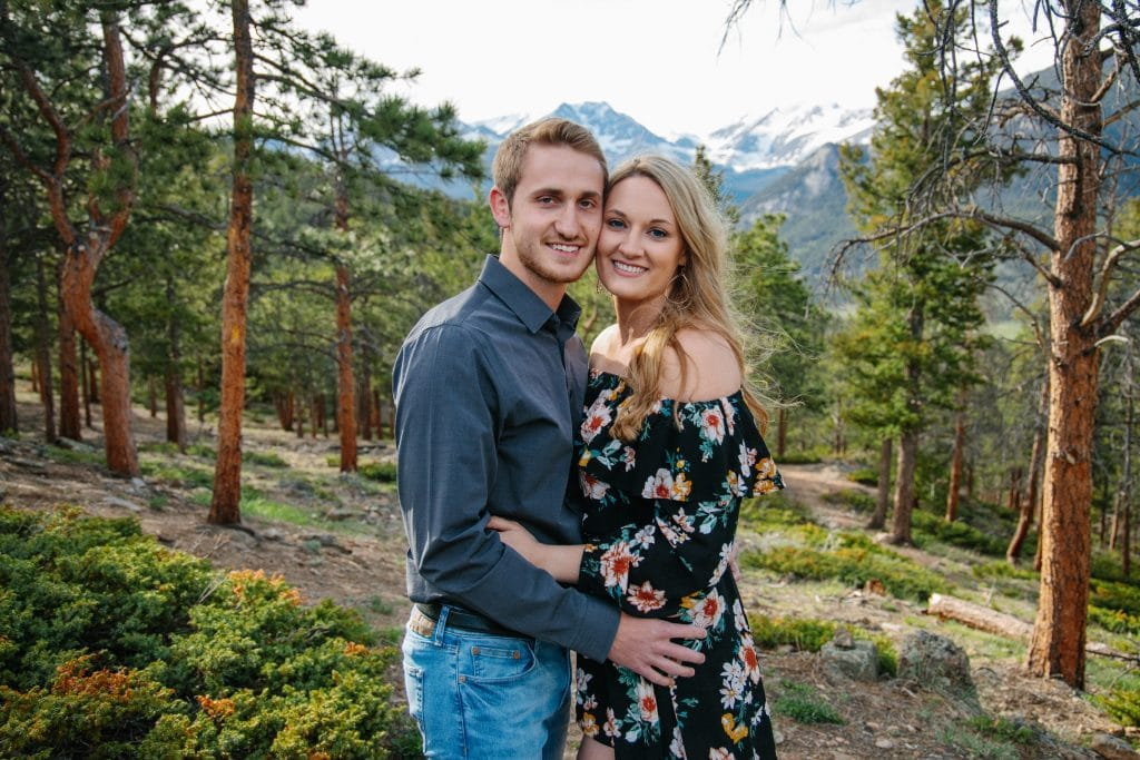 couple in mountains for engagement session